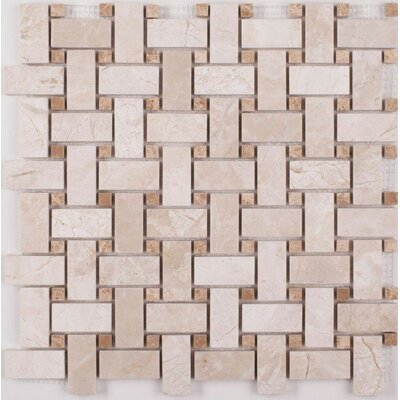 Basket Weave 12 x 12 Polished Mosaic Tile in Diana Royal