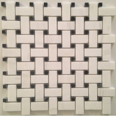 Basket Weave Polished Mosaic Tile in Bianco Dolomite