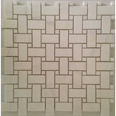 Basket Weave Honed Mosaic Tile in Bianco Dolomite