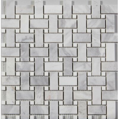Basket Weave Honed Random Sized Mosaic Tile in Argento Dolomite