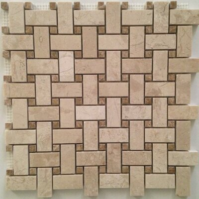 Basket Weave Polished Mosaic Tile in Crema Nouva