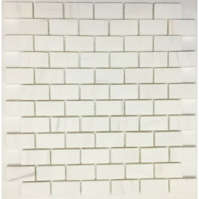 Honed Brick 1 x 2 Marble Mosaic Tile in Bianco Dolomite