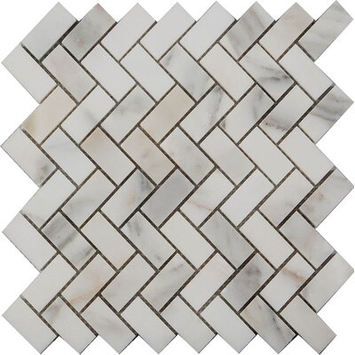 Herringbone Polished 1 x 2 Mosaic Tile in Calacatta Oro