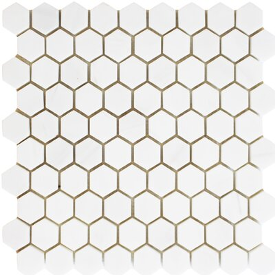 Honeycomb Hex Honed 1.25 x 1.25 Mosaic Tile in Bianco Dolomite
