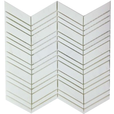 Honed Mosaic Tile in Bianco Dolomite Chevron