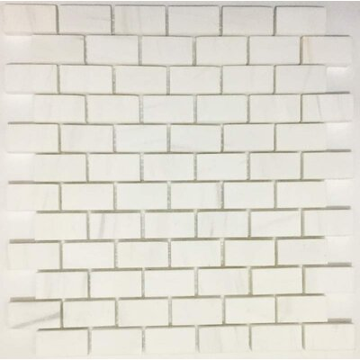 Polished Brick 1 x 2 Marble Mosaic Tile in Bianco Dolomite