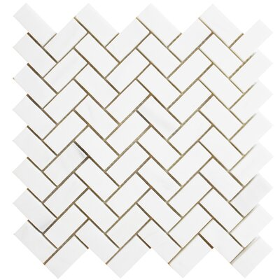 Herringbone Polished 1 x 2 Mosaic Tile in Bianco Dolomite