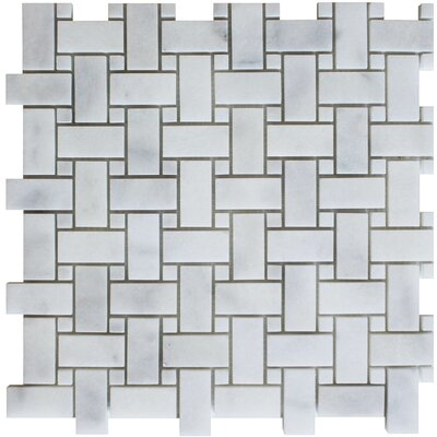 Basket Weave Honed Random Sized Mosaic Tile in Bianco Venantino