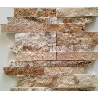 Ledgestone Splitface Random Sized Travertine Mosaic Tile in Leonardo