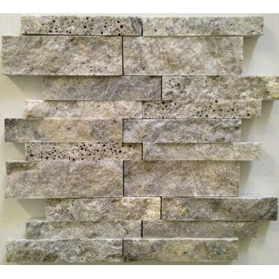 Ledgestone Splitface Random Sized Travertine Mosaic Tile in Silver