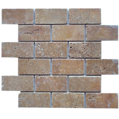 Tumbled Brick Mosaic Tile in Noche