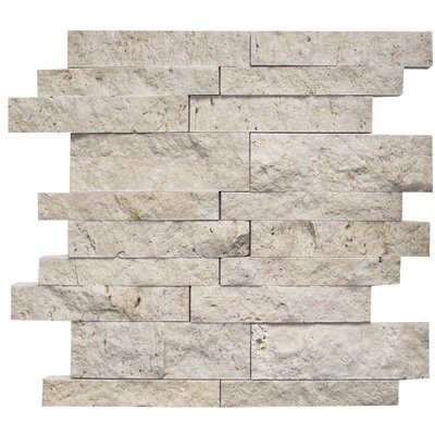 Random Sized Travertine Mosaic Tile in Ivory