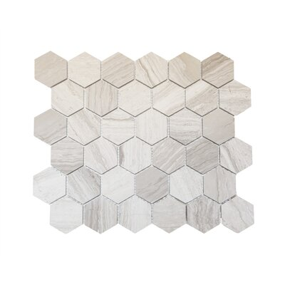 Hex Honeycomb 3 x 3 Mosaic Tile in Wooden White