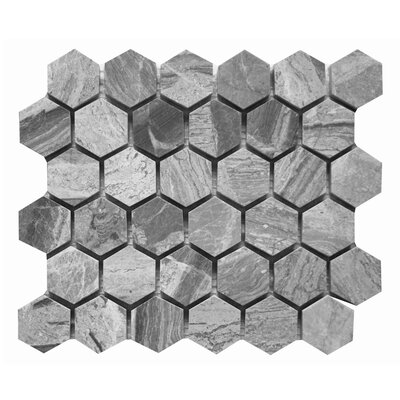 Honeycomb Hex Polished 2 x 2 Marble Mosaic Tile in Grigio Fantasia