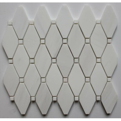 Clipped Diamond Polished 2 x 2 Marble Mosaic Tile in Bianco Dolomite with Bianco Dot