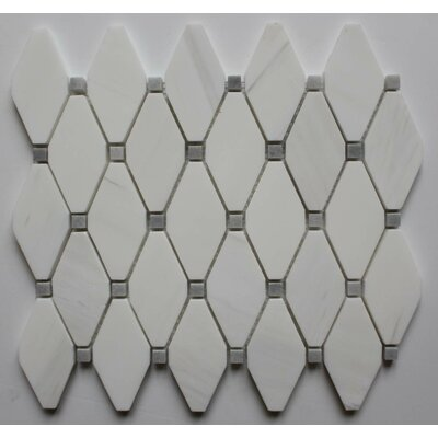 2 x 2 Marble Mosaic Tile in Bianco Dolomite with Gray Dot