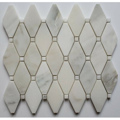 Clipped Diamond Polished 2 x 2 Marble Mosaic Tile in Calacatta Oro