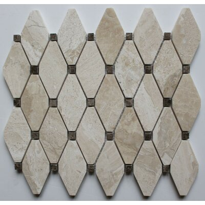 Clipped Diamond Polished 2 x 2 Marble Mosaic Tile in Diana Royal with Emperador Dot