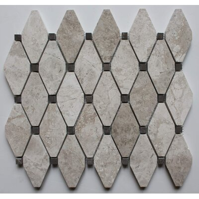 Clipped Diamond Polished 2 x 2 Marble Mosaic Tile in Silver Shadow with Gray Emperador Dot