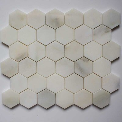 Honeycomb Hex Polished 2 x 2 Marble Mosaic Tile in Calacatta