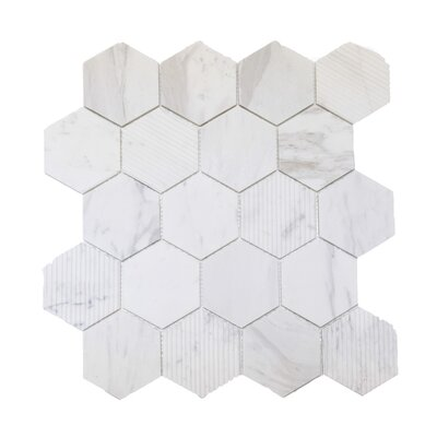 Hex Honeycomb 3 x 3 Mosaic Tile in Bianco Dolomite