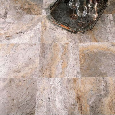 8 x 8 Travertine Field Tile in Ariete Black