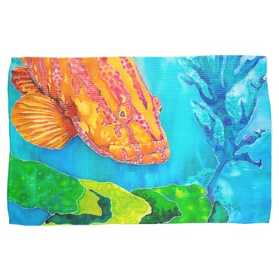 Grouper in the Green Waffle Weave Hand Towel