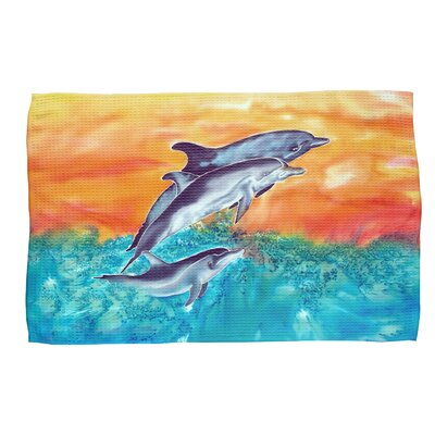 Dolphins Waffle Weave Hand Towel