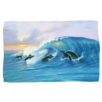 Surfing Dolphins Waffle Weave Hand Towel