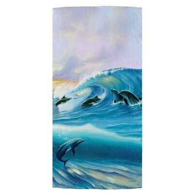 Surfing Dolphins Beach Towel