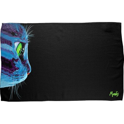 Green-Eyed Cat Waffle Weave Hand Towel
