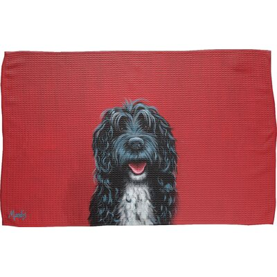 Portuguese Water Dog Waffle Weave Hand Towel