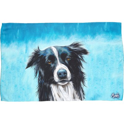 Border Collie Waffle Weave Hand Towel
