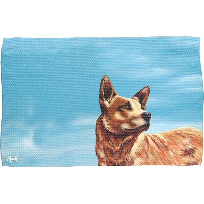 Texas Cattle Dog Waffle Weave Hand Towel