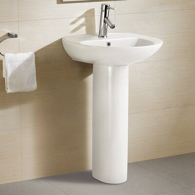 Ceramic 21 Pedestal Bathroom Sink with Overflow