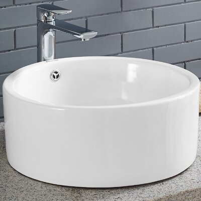 Plaisir� Circular Vessel Bathroom Sink with Overflow