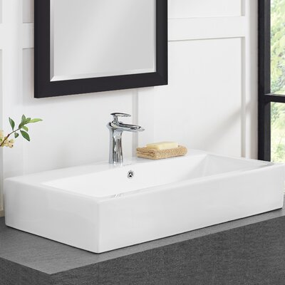 Plaisir� Ceramic Rectangular Vessel Bathroom Sink with Overflow