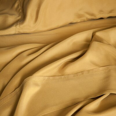 Matte Silk Duvet Cover Color: Bronze, Size: King