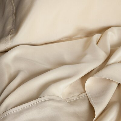 Matte Silk Duvet Cover Color: Cream, Size: King