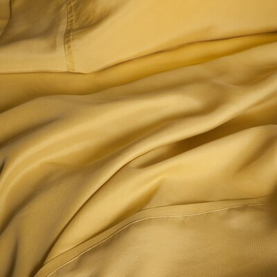 Matte Silk Duvet Cover Color: Gold, Size: California King
