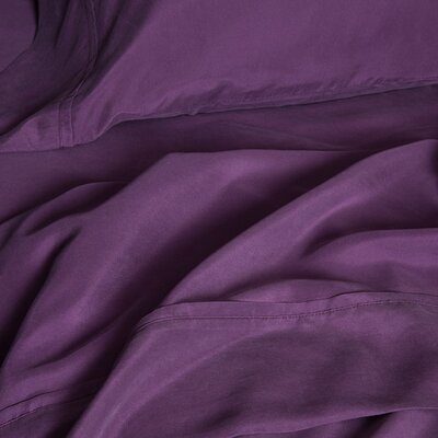 Matte Silk Duvet Cover Color: Eggplant, Size: California King