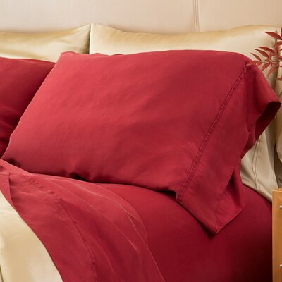 Matte Silk Pillow Case Color: Wine, Size: King/California King