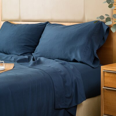 Matte Silk Duvet Cover Color: Navy, Size: King