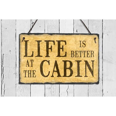 Life is Better at the Cabin Slate 4-Line Wall Address Plaque Cabinunedit_noholes