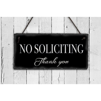 No Soliciting Slate Sign Plauque Color: Black