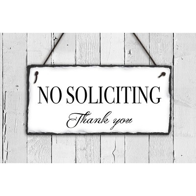 No Soliciting Slate Sign Plauque Color: White