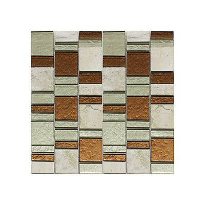 Riviera Random Sized Natural Stone/Glass Mosaic Tile in Copper