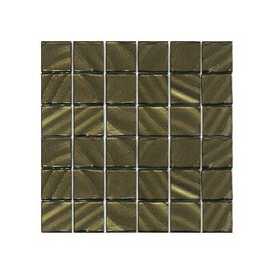 Valverde 3D 2 x 2 Glass/Aluminum Mosaic Tile in Ochre
