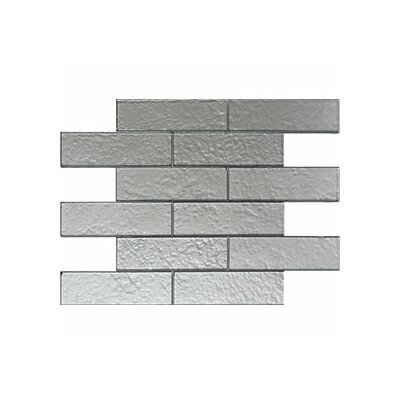 Cartagena 2 x 6 Glass Field Tile in Glossy Silver