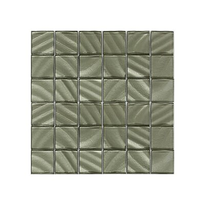 Valverde 3D 2 x 2 Glass/Aluminum Mosaic Tile in Champagne